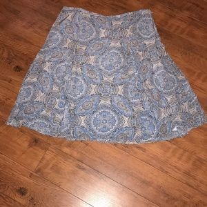 Loft Silk Skirt 16 Paisley Blue